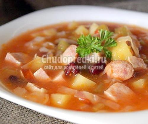 Суп из курицы с фасолью