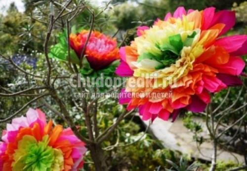 Как сделать гофрированные цветы