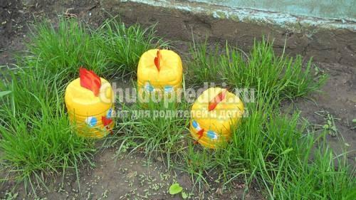 Оформление сада из пластиковых бутылок