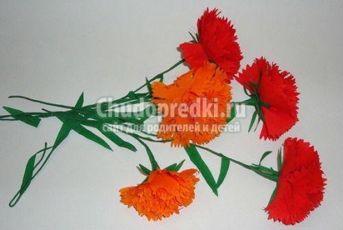 бумажные цветочки-гвоздики