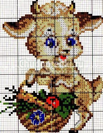 Вышивка крестом коза фото 360-455