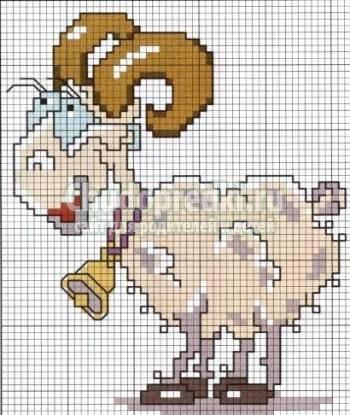 Вышивка - коза