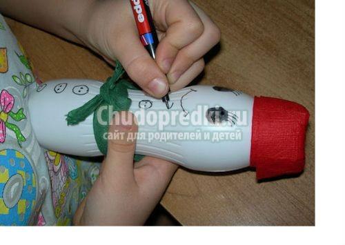 Снеговик из бутылки своими руками