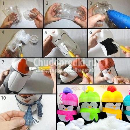 новогодние поделки из пластиковых бутылок: популярные мастер-классы с фото