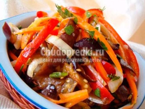 рецепт приготовления салатов из баклажанов на зиму с фото