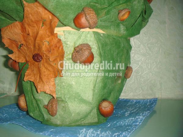 осенний топиарий из природных материалов