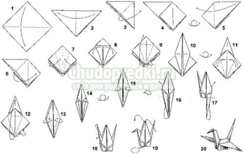 Как сделать журавля из бумаги оригами видео