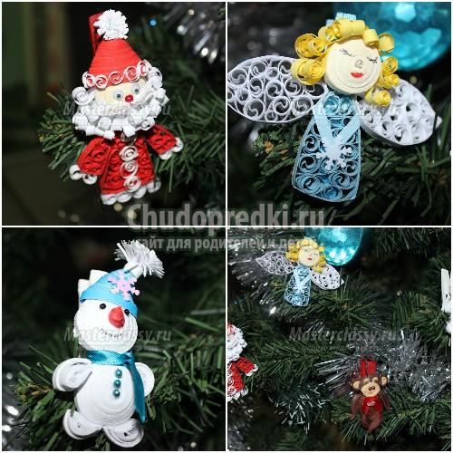 Елочные игрушки из бумаги - 40 идей с фото, новогодние звезды, олени и др. Фото