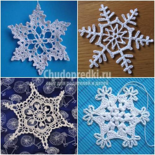 Вязаные снежинки. 40 идей, схемы крючком. Фото