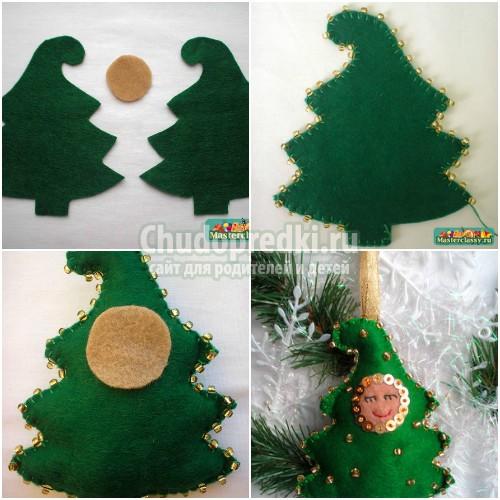 Новогодние игрушки из фетра. Идеи для украшения елки