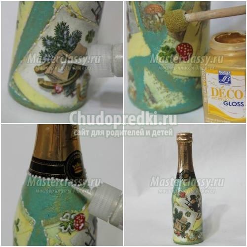 Декупаж бутылок шампанского на Новый год: лучшие идеи с фото