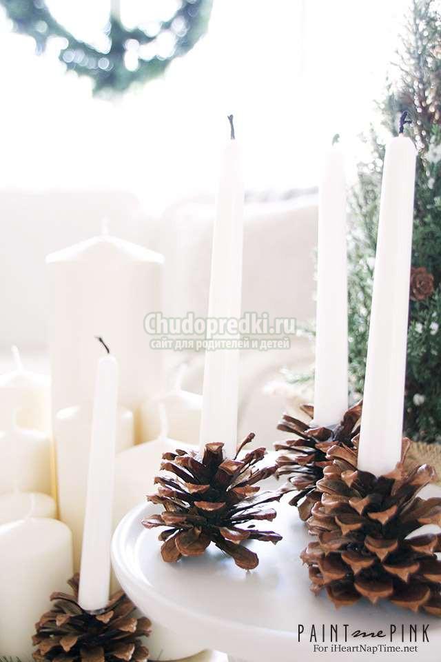 поделки из шишек на новый год