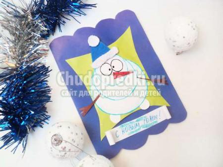 Новогодняя открытка со снеговичком
