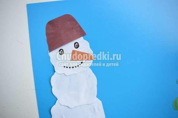 аппликация на тему зима