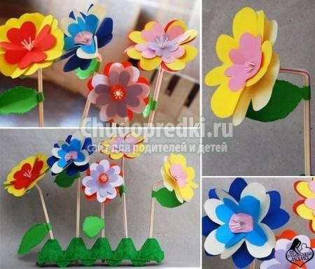 Детские поделки на 8 марта из бумаги. Красивые цветы. Пошаговый мастер-класс