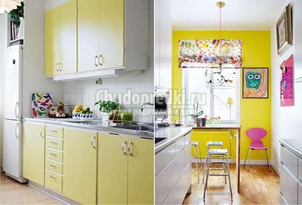 желтый цвет с интерьере