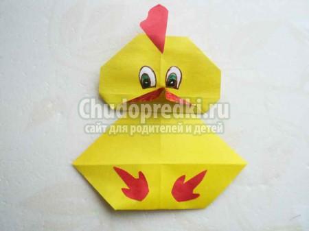 Животные из бумаги. Цыпленок в технике оригами. Пошаговый мастер-класс с фото
