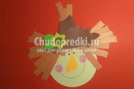 Детские осенние поделки из цветной бумаги «Голова пугала»: пошаговый мк и видео урок