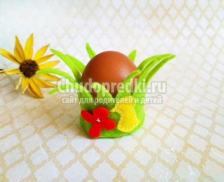 Подставка для пасхальных яиц из фетра. Просто и быстро украшение для пасхального яйца из фетра. Пошаговый мастер-класс с фото