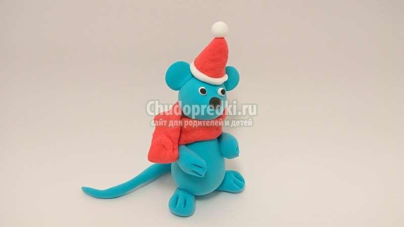 Детские Поделки На Новый Год 2020. Новогодняя мышка из легкого пластилина. Пошаговый мастер-класс с фото