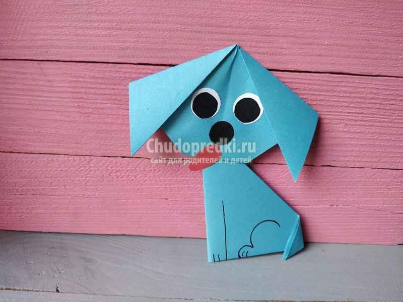 Оригами для детей. Простая собачка оригами. Как сделать Собаку из Бумаги? Пошаговый мастер-класс с фото