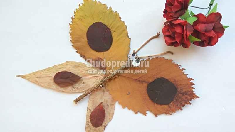 Поделка для начальной школы. Бабочка из осенних листьев. Пошаговый мастер-класс с фото