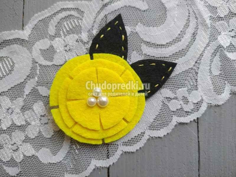 Красивая заколка из фетра с желтым цветком за 5 минут. Пошаговый мастер-класс с фото