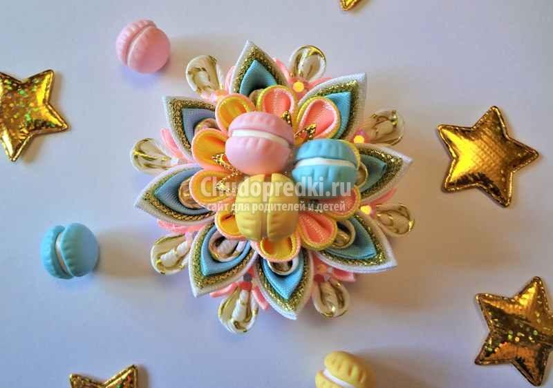 Красивая заколка - пироженка для девочки из лент. Пошаговый мастер-класс с фото