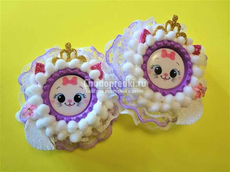 Детские украшения своими руками. «Кошечка - принцесса» из пампонов. Пошаговый мастер-класс с фото