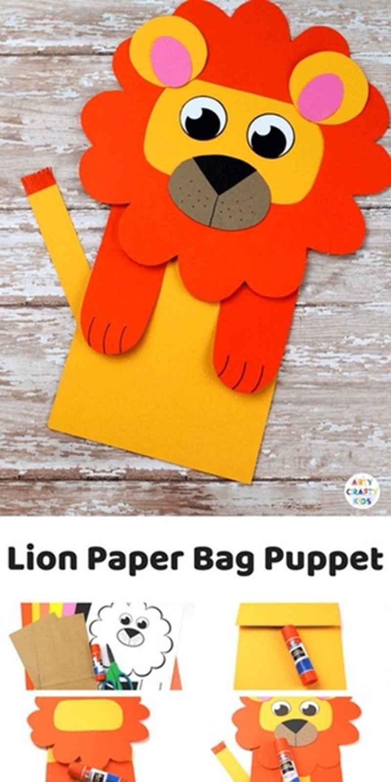 Аппликация из бумаги лев