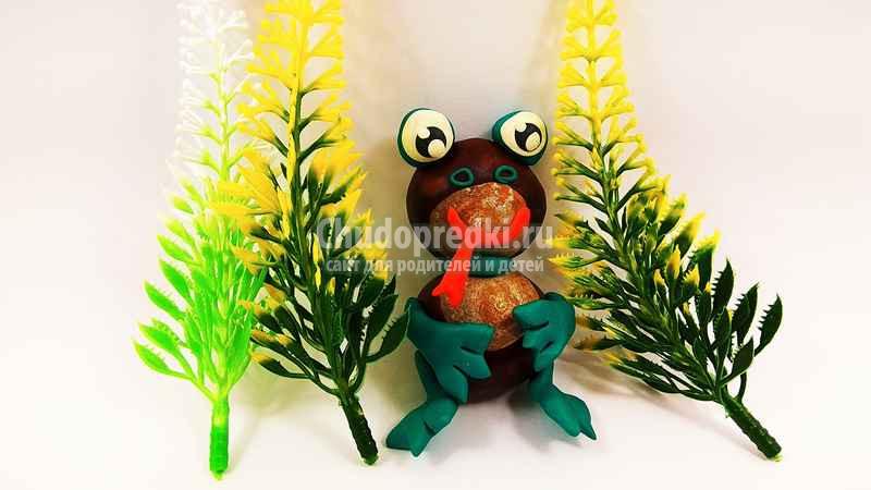 Лягушка из каштанов и пластилина: пошаговый мастер-класс с фото