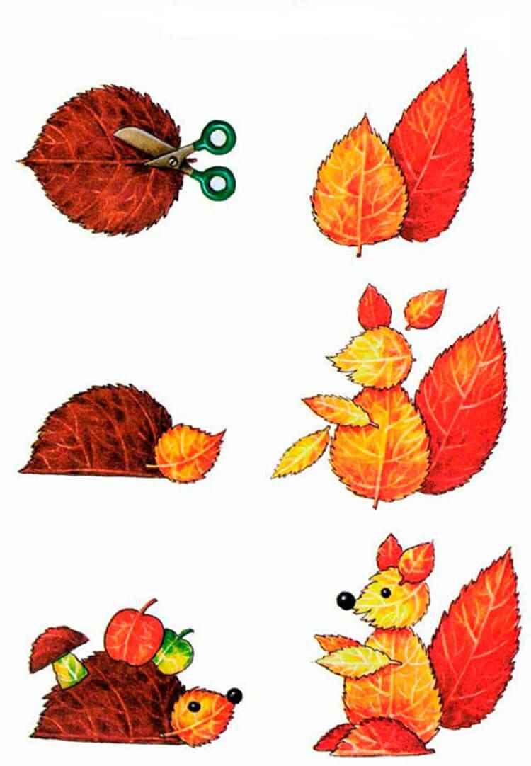 поделки из осенних листьев в садик и школу