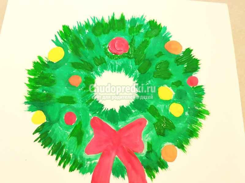 Рождественский венок рисование